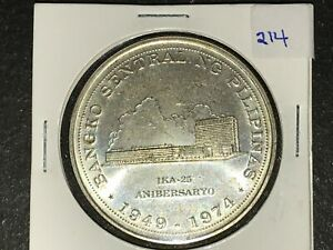 Philippines-1974-25-Pesos-Commemorative-Silver-Coin-BSP-25th-Lot-214