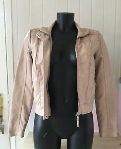 Womens-Ladies-Foreign-Exchange-Faux-Leather-Bomber-Jacket-Size-S