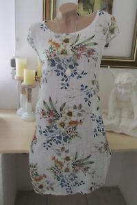 reputable site 780ee b1fa6 Details zu Italy Strand Damen Blumen Kleid Leinen Baumwolle Oversize Sommer  Weiß 42-44