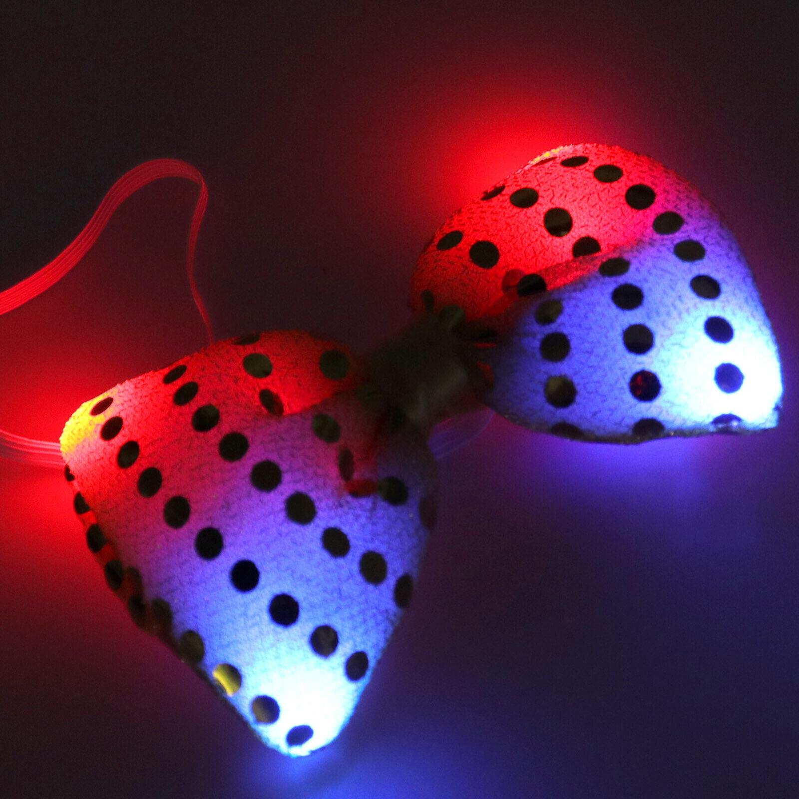 1tlg Bogen Fliege Pailletten LED blinkend Party Tie Weihnachten Flashing Gelb