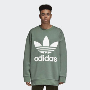 Details about Adidas DH5770 Men originals Trefoil over Crew Sweat LS shirts green