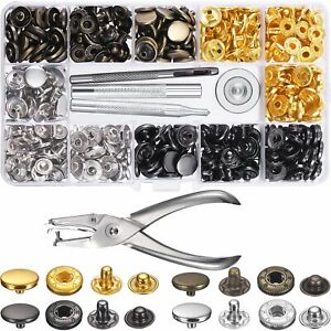 Details about Heavy Duty Snap Fasteners 12 5mm 120 Sets Press Studs Kit  Poppers Buttons + Tool