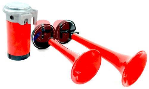 Set Twin Trumpet Style Air Horns Duel Tone 12v VERY Loud Boat Car Van Compressor