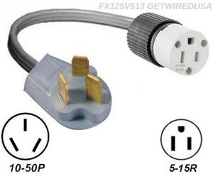 10-50P GAS ADAPTER RANGE STOVE OVEN 3-PIN PLUG 5-15R WALL RECEPTACLE CONVERTER