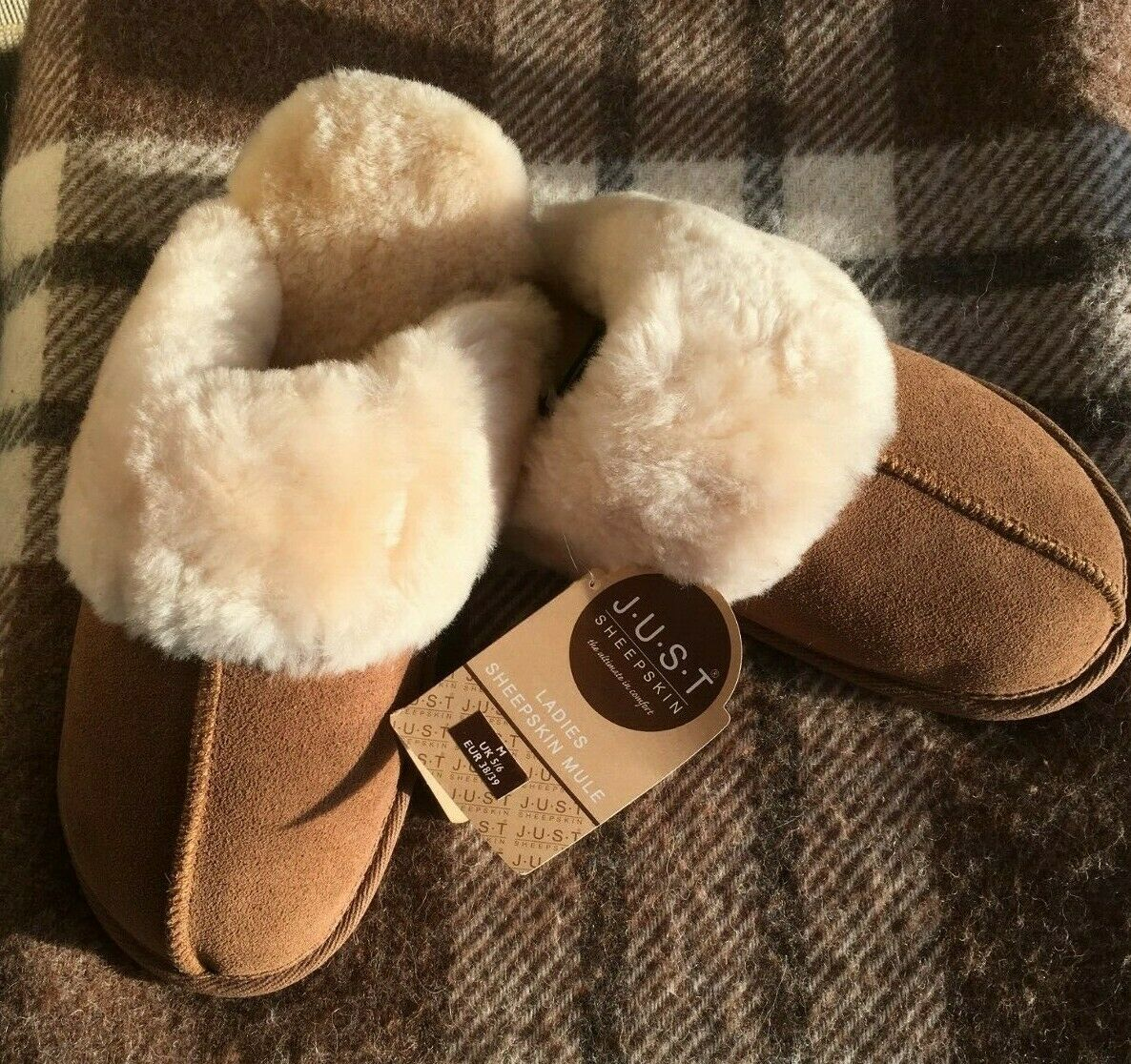 Just Sheepskin Slippers Mules BNWT Brown Colour