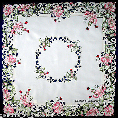 """Lucky Ladybugs Lace 43"""" Table topper Tablecloth Doily Pink Flower"""