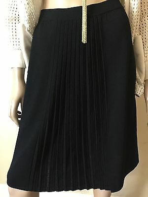 St. John Collection Classic Black Front Pleated Skirt - Size 10