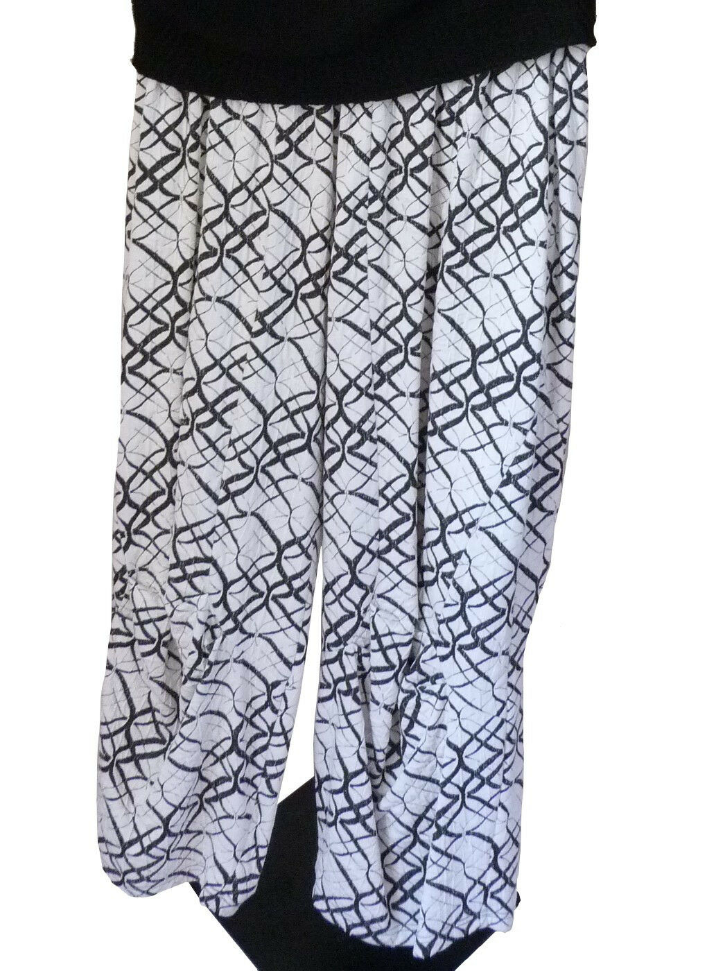 Lagenlook Leins´ Hose Marlenehose Schlupfhose pants Weiss black Gr.M L XL XXL