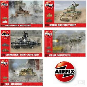 AIRFIX-1-35-chars-WW2-model-kits-Panzer-Tiger-M3-Stuart-M10-GMC