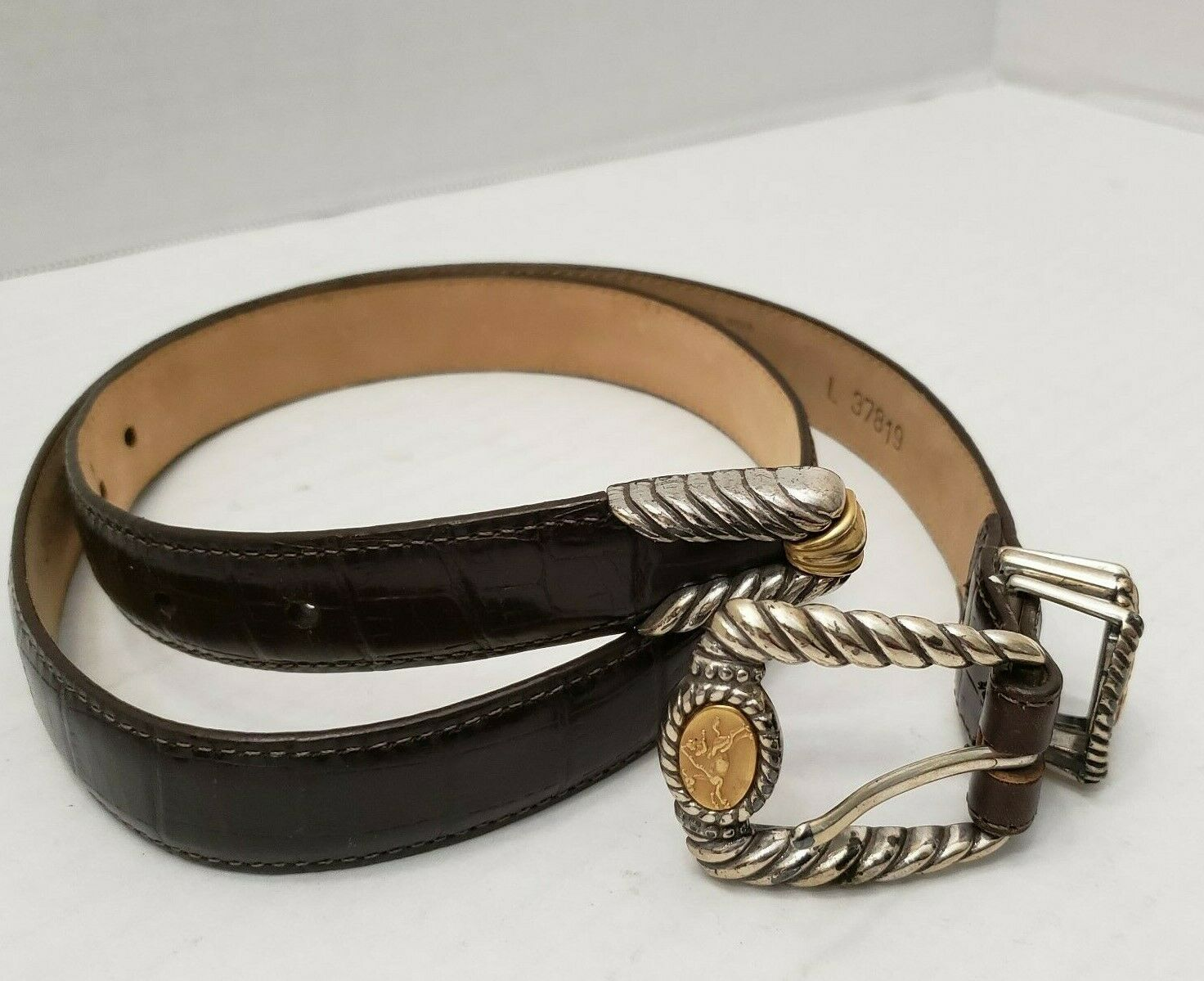 Brighton Museum Collection Brown Golden Roman Coin Rider Horse Belt L 37819