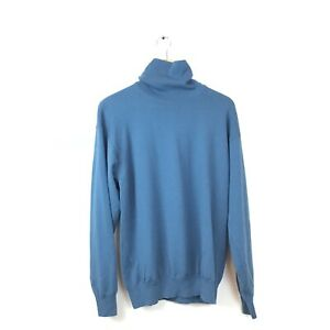 Pringle-Of-Scotland-Sweater-M-Blue-Wool-Mock-Turtleneck-Pullover-Women-s