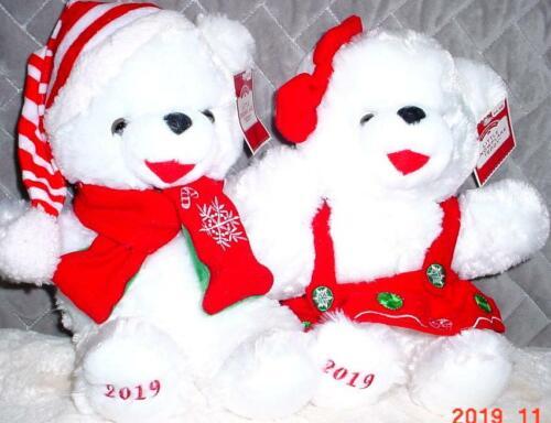 "2 WalMART CHRISTMAS Snowflake TEDDY BEARs 2019 White Girl/&Boy 13/"" Red//Green New"