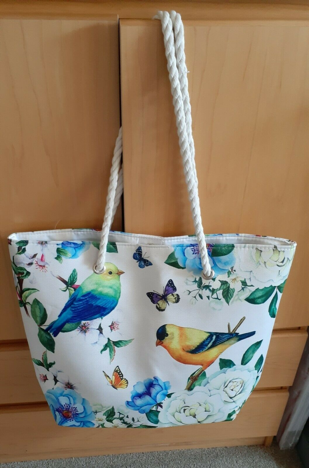 JUMBO XXL Tote Bag Birds Butterflies Canvas Lined Rope Straps 20
