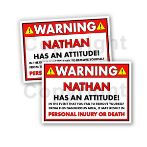 """NATHAN HAS AN ATTITUDE 2 Funny Warning Stickers 5/"""" wide orange Set of 2"""