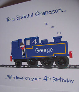 PERSONALISED-HANDMADE-TRAIN-BIRTHDAY-CARD-GRANDSON-SON-etc1st-2nd-3rd-4th-5th