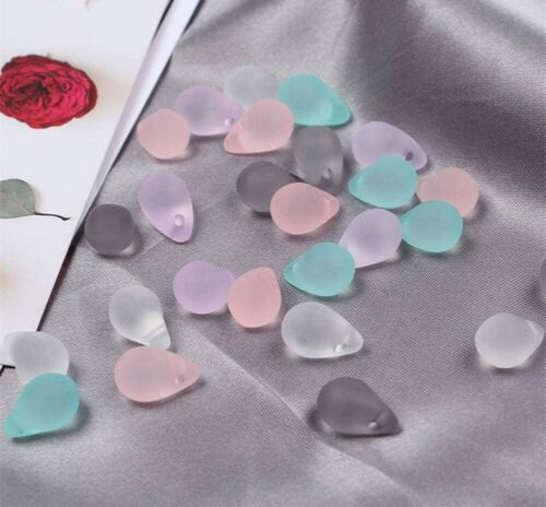 10 Teardrop Beads Frosted Acrylic Mermaid Tears Jewelry Supplies 13mm Assorted