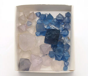 5620-Fluorite-Octahedrons-Diamonds-NEW-MEXICO-Blue-China-White-gt-0-2-KG-CA-70-ST
