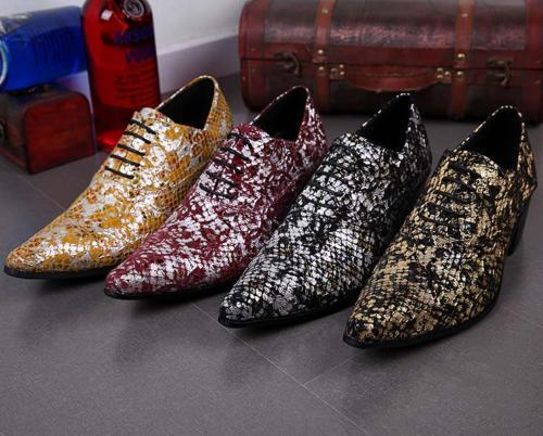Mens Leather Pointed Toe Casual shoes Hidden Heel Lace Up Nightclub Dress Formal