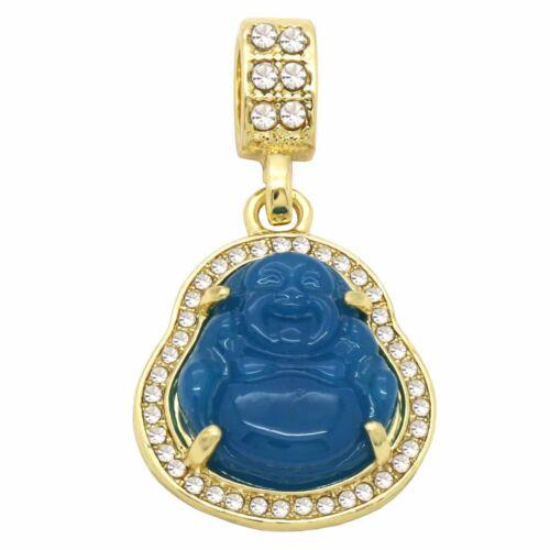 """Men/'s 14k plaqué or bleu résine Bouddha Pendentif 4 mm 24/"""" Corde Chaîne à Maillons"""