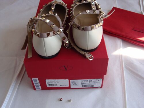 Garavani Maat Platte Light Ivory Valentino 5 36 Rockstud schoenen Ballerina L435AjR