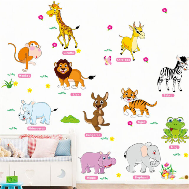 jungle animals wall stickers for kids rooms decor poster wall decals removabl BS