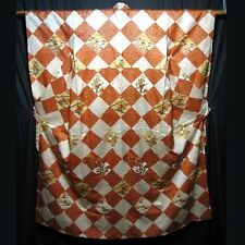 "Vintage Japanese Furisode Kimono Woman's Silk Robe ""Checkered Diamonds"""