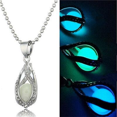 Little Mermaid's Teardrop Glow in the Dark Pendant Necklace - Valentine gift New