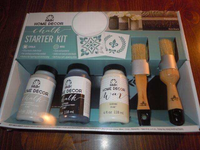 Chalk Paint Starter Kit FolkArt Home Decor Paints Wax Brushes Stencils  Plaid NIB