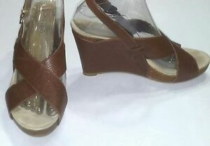 Eurostep-Wedge-Brown-Leather-Strappy-Sandals-Women-039-s-Size-8M