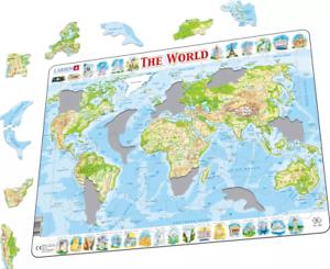 Carte Physique Du Monde-cadre//Board Puzzle 29 cm x 37 cm SR K4-GB