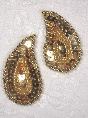 """0345 ~ GOLD PAISLEY PAIR SEQUIN BEADED APPLIQUES 2"""""""