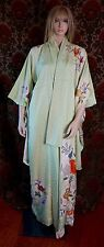 Vtg Japanese Kimono Furisode Silk Robe Collectible Pistachio Green Embroidered