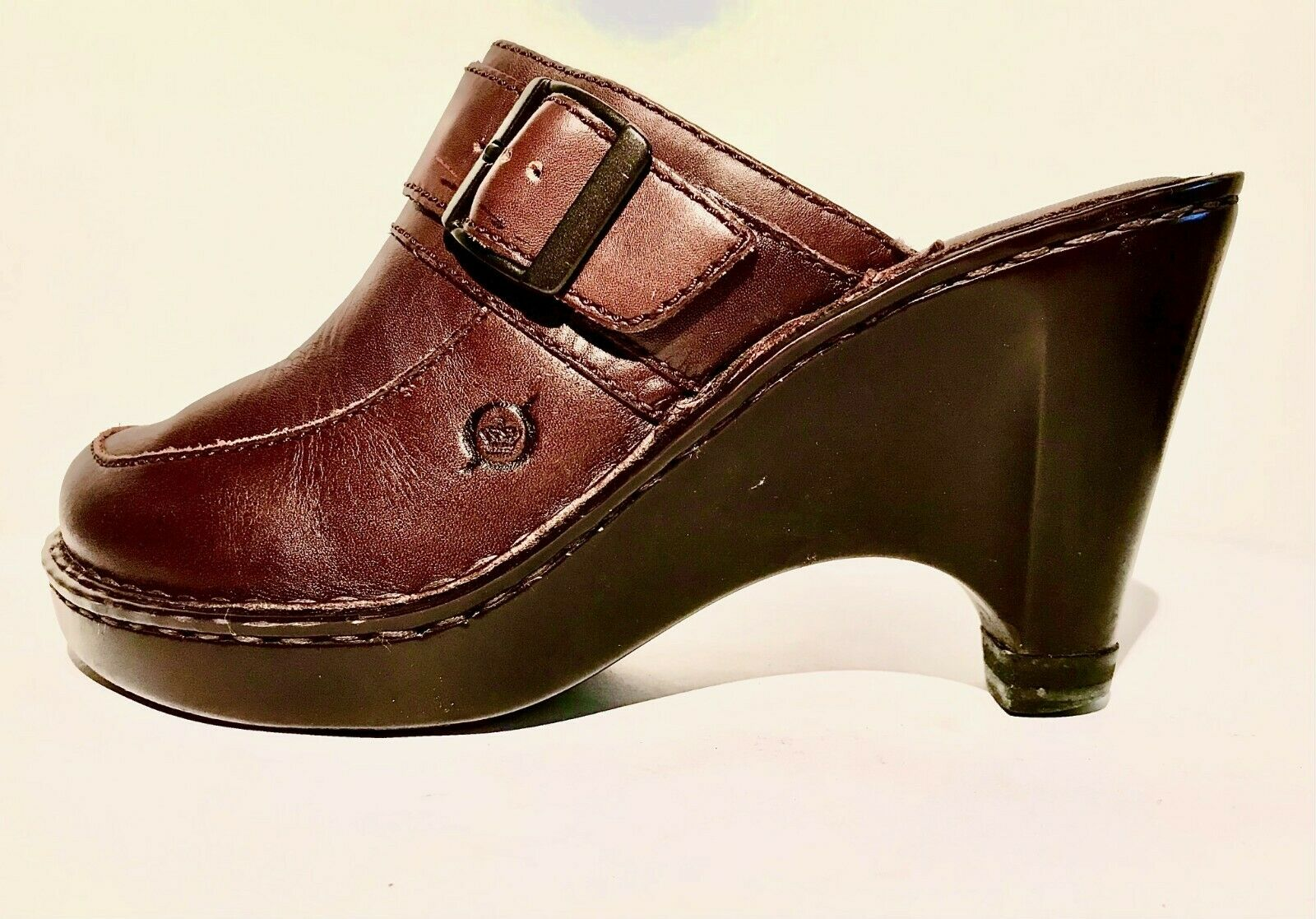 Born Leather Brown Sandals w/buckles Size 7/38 Wa… - image 3