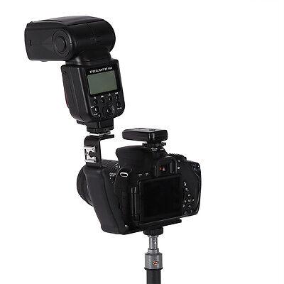 BLK L-Shaped Metal Flash Bracket Holder Hot Shoe Mount For Speedlite Camera DSLR