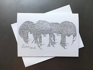 Image Is Loading The Beatles Birthday Card With Envelope Drawn From