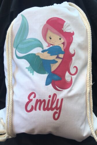 Personalised Childrens Pink Mermaid with Dolphin Gym// PE// Dance Bag 100/% cotton