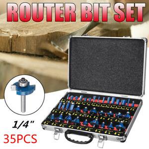 "35pc Router Bit Set 1//4/"" Shank Tungsten Carbide Tip Router Bit Woodworking Tool"