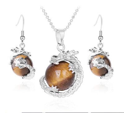 Official Website S846e Set Drache Umschlingt Kugel Tigerauge Kette Anhänger Ohrring Versilbert Other Fine Jewelry Sets Fine Jewelry