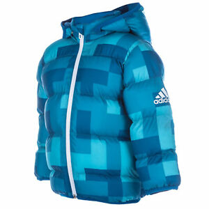 Adidas-Bebe-Nino-Azul-Acolchado-abrigo-infantil-Chaqueta-Edad-2-3y-ANOS-amp-3