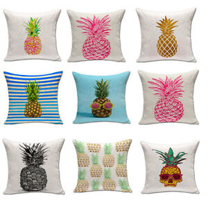 kissenbez ge 45x45 baumwolle leinen deko bunt ananas muster kissenh llen kissen ebay. Black Bedroom Furniture Sets. Home Design Ideas