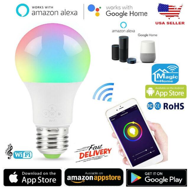 3X B22 Smart Bulb Wireless WiFi RGB App Control LED Light for Alex Google Amazon