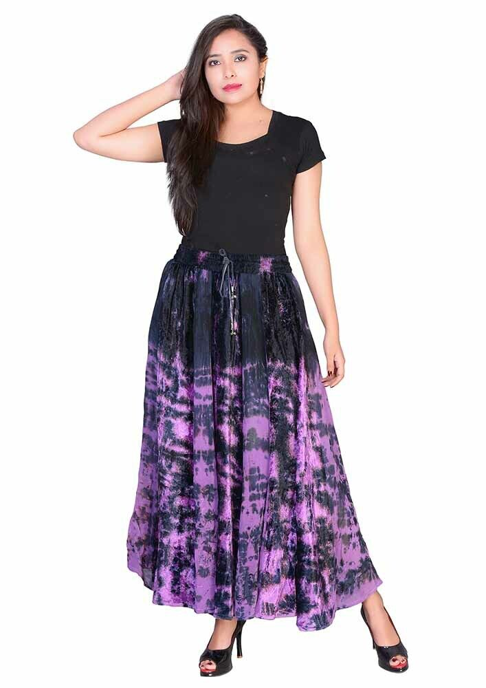 Jordash Skirt Purple Tie Dye Elasticated Tie Waist Long Length S-M