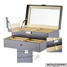 Black Leather Box Jewelry Organizer Display Case for 12 Eyeglasses/Sunglasses