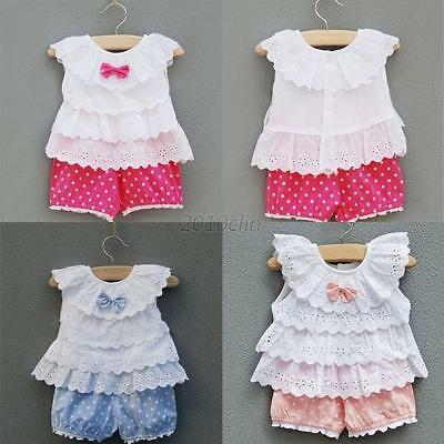 0-2Y Baby Toddler Girl Ruffled T-shirt Top+Dots Shorts Suits 2pcs Outfit Clothes