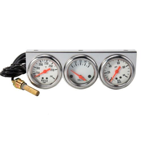 52mm 2/'/' 12V 3 in 1 Water Temp Oil Gauge Temperature Pressure Triple Meter UK