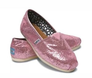 eda06114eea8 Image is loading NEW-WOMENS-TOMS-PINK-GLITTER-ROSE-CLASSIC-ORIGINAL-