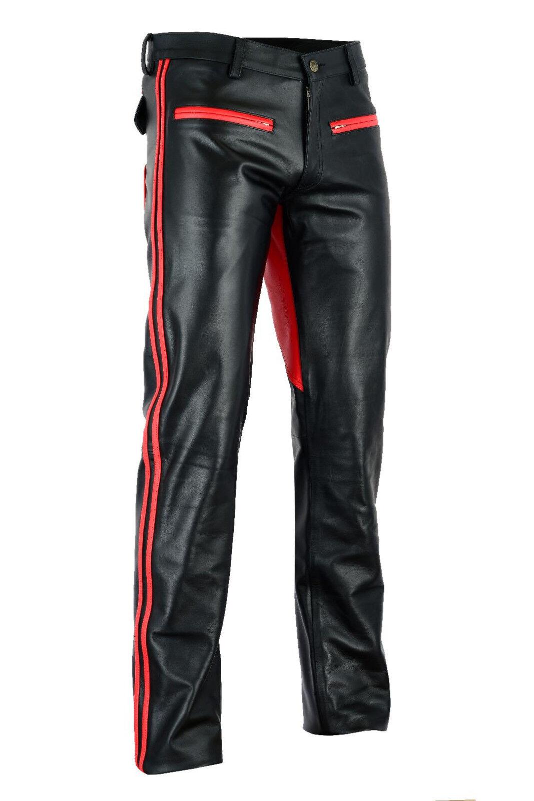 722 Echt Leder hose mit Rotem besatz besatz besatz Sattel,Reithose,Lederhose,pantalon Gr.32W | Zürich Online Shop  a0a78c