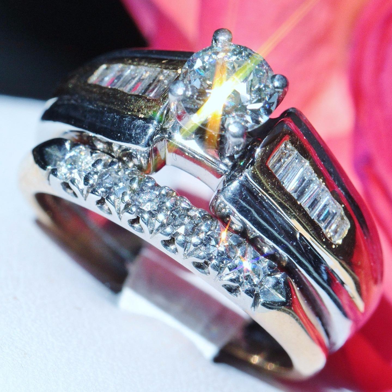 Platinum 14k gold wedding ring set 1.15ct diamond sz 5.5 vintage handmade 11.2g