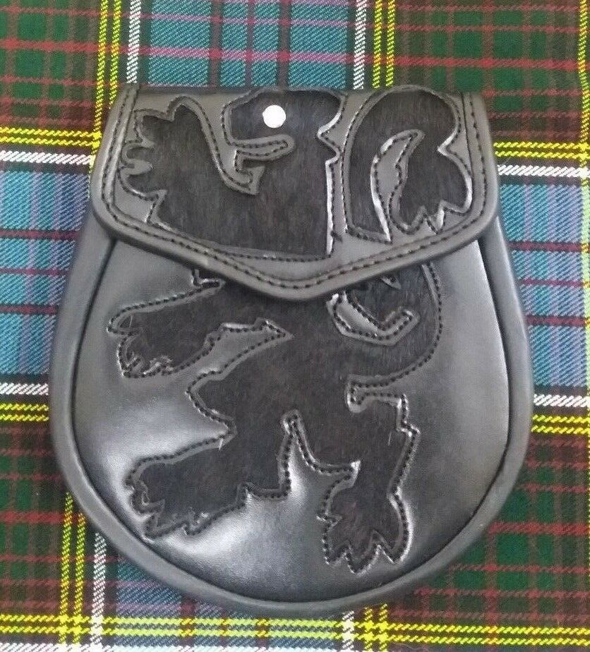 Men's Scottish Semi Dress Kilt Sporran Black Leather Sttished Lion Rampant Chain