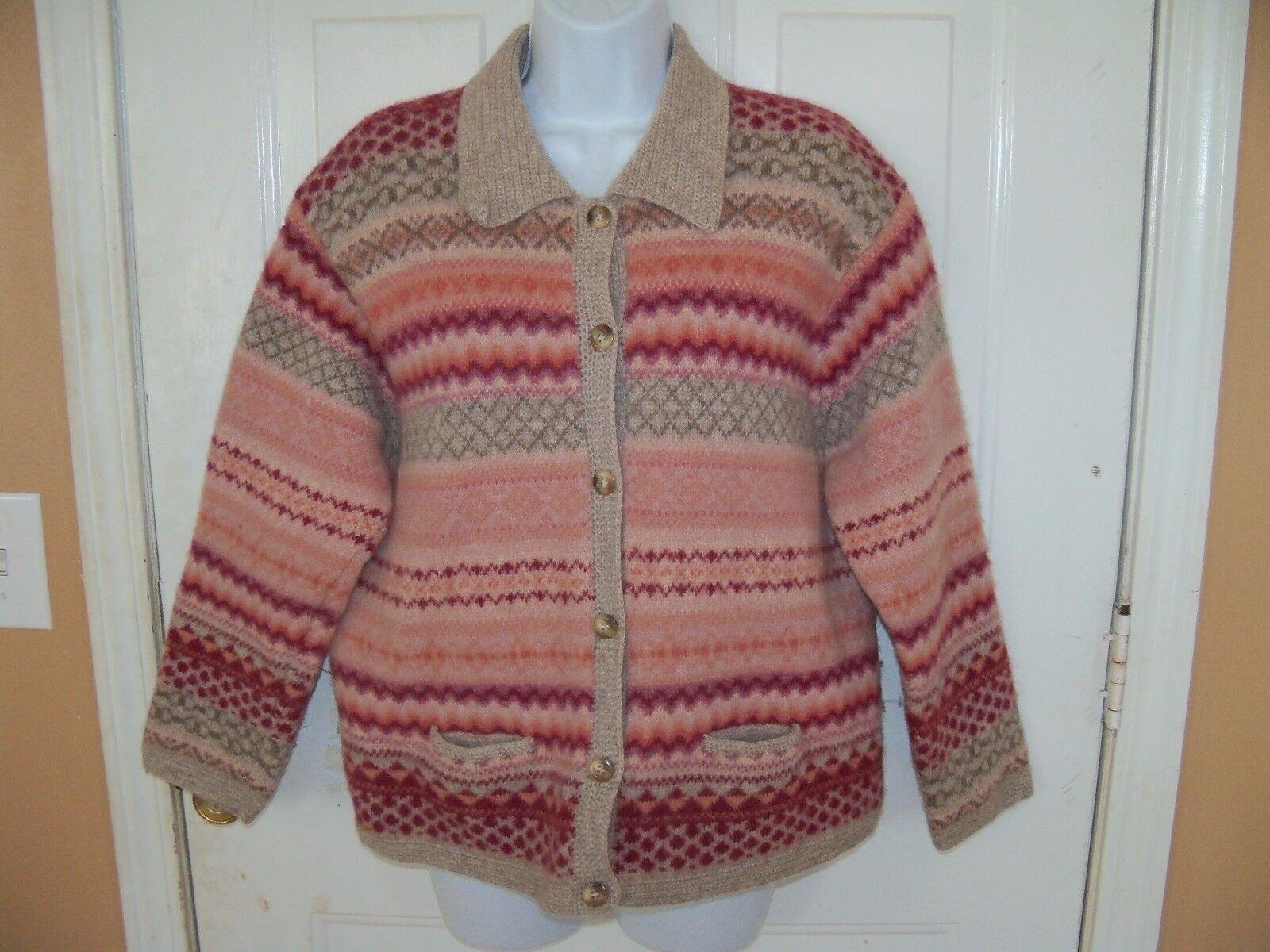 Vintage Susan Bristol 100% Wool Cardigan Sweater Multi color Size M L WOMEN'S